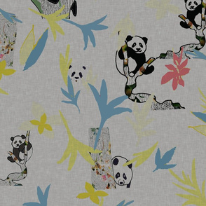 Vintage Pandas on soft grey with colorful foliage