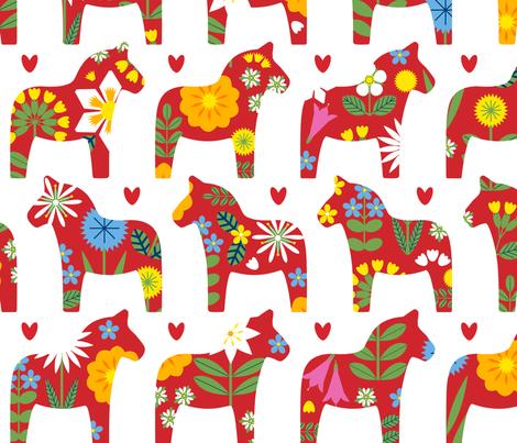 Midsommar Dala Horses fabric by lellobird on Spoonflower - custom fabric