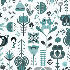 Scandi Flowers - Blue and Grey