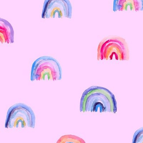Watercolor rainbow on pink || colorful painted pattern for baby girl