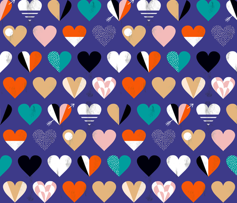 be mine blue fabric by booboo_collective on Spoonflower - custom fabric