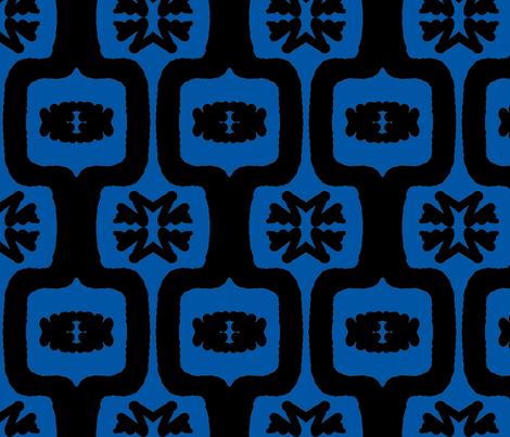 Black & Blue Funky Folk 1 fabric by tabasamu_design on Spoonflower - custom fabric