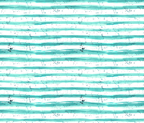 Tiffany blue grungy stripes || watercolor brush stroke pattern with splatters fabric by katerinaizotova on Spoonflower - custom fabric