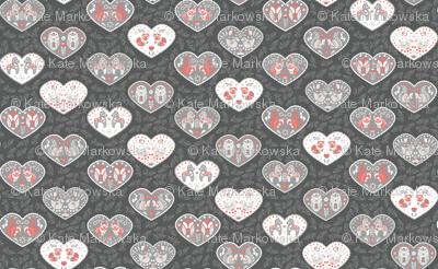 Scandinavian animal folk flower hearts