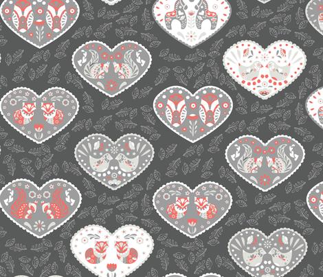 Scandinavian animal folk flower hearts fabric by stargazingseamstress on Spoonflower - custom fabric