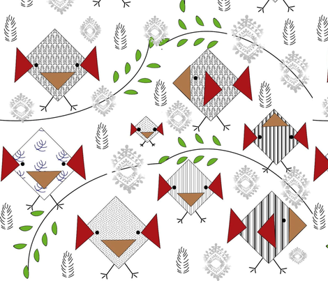 Birds of Scandinavia fabric by gracelillydesigns on Spoonflower - custom fabric