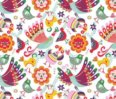 scandinavian folkart birdies | white fabric by camcreative on Spoonflower - custom fabric