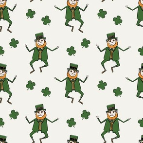Leaping Leprechaun with Shamrocks - Cream
