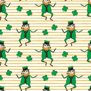 Leaping Leprechaun with Shamrocks - Gold Stripes