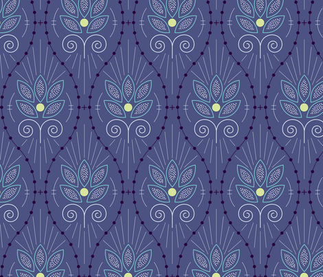 Scandinavian Floral in Blue fabric by christina_steward on Spoonflower - custom fabric