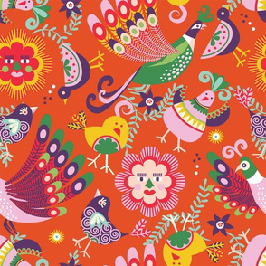 scandinavian folkart birdies | orange
