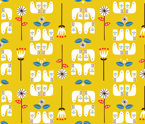 "Scandi birds yellow 12"" fabric by rosalindmaroneyillustration on Spoonflower - custom fabric"
