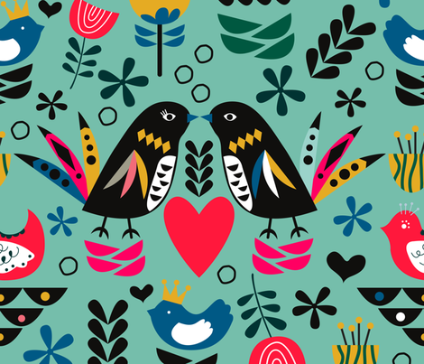 Hygge Teal fabric by chiqdesign on Spoonflower - custom fabric