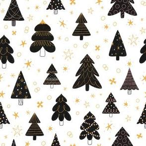 Black Christmas trees pattern