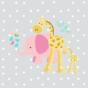 pink hearts elephant friends 2 on lightest gray  white polka dot - XL 1951