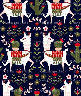 Scandinavian Llama Folk Art