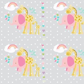 rainbow heart showers pink elephant friends 2 on lightest gray white polka dot - LG105