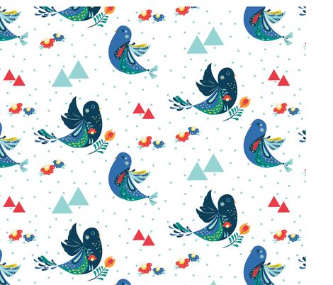nordic birds fabric by ishita_v on Spoonflower - custom fabric