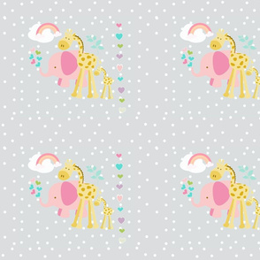 rainbow space hearts pink elephant friends on lightest gray polka LG105
