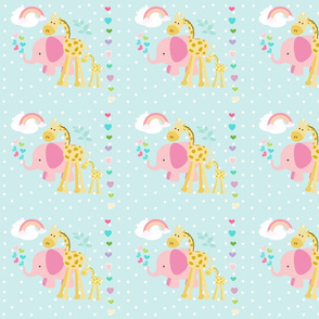 rainbow heart showers pink elephant friends 2 on seaglass white polka dot - MED7
