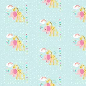 rainbow space hearts pink elephant friends on seaglass polka - MED7