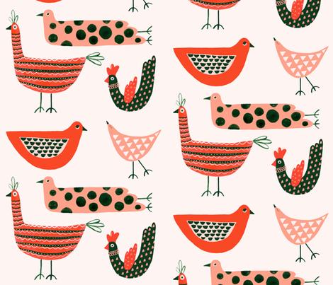 modern folk birds fabric by rima_tessman on Spoonflower - custom fabric