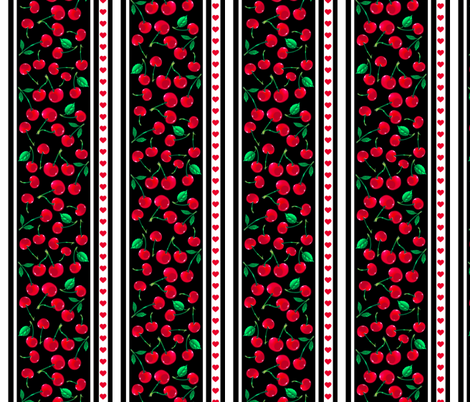 Rockabilly Cherry  Stripe 1 fabric by jadegordon on Spoonflower - custom fabric
