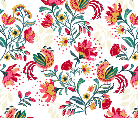 Scandinavian Festive Floral fabric by jill_o_connor on Spoonflower - custom fabric