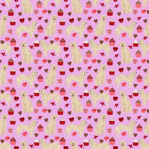 SMALL - golden retriever valentines fabric - purple - valentines love design, cute valentines love fabric