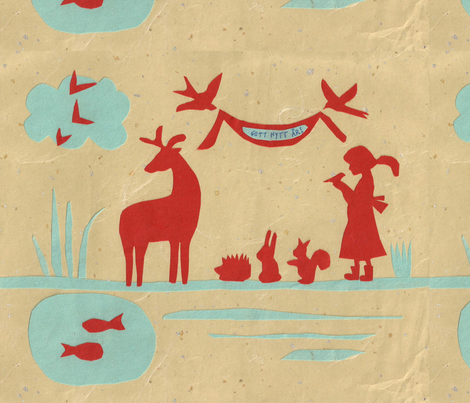 scandinavian folk art-ed fabric by silvery on Spoonflower - custom fabric