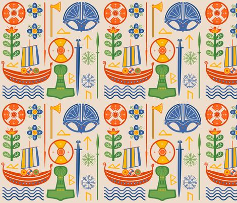Vikings of Scandinavia fabric by nixels on Spoonflower - custom fabric