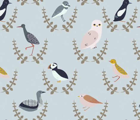 birds of scandinavia - wreaths fabric by popelephant on Spoonflower - custom fabric
