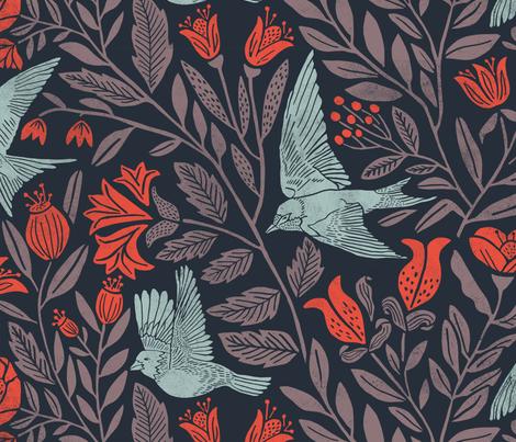 Scandinavian Birds fabric by jillcookdesigns on Spoonflower - custom fabric