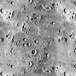 Moon Surface with Heart Craters