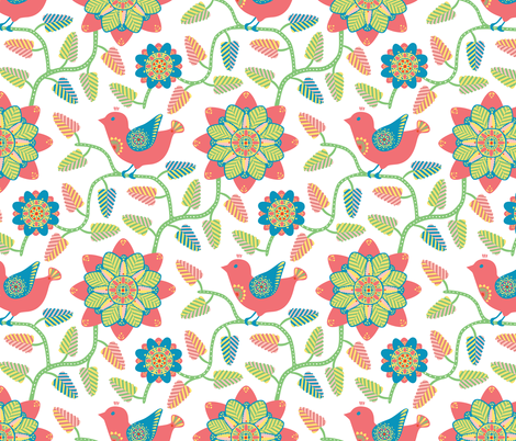 Folk inspired birds and flowers fabric by simut on Spoonflower - custom fabric