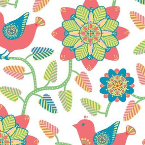 Folk inspired birds and flowers