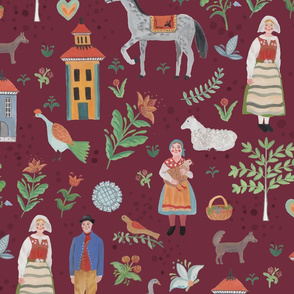 Swedish Folk Art - Red