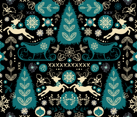 Scandinavian Snowy Winter Christmas fabric by sarah_treu on Spoonflower - custom fabric