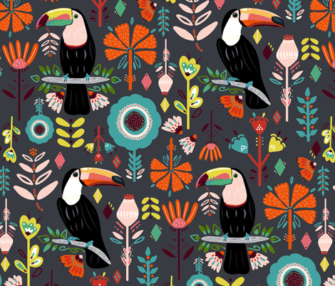 Colorful Scandinavian Toucans On Grey  (Large version) fabric by tigatiga on Spoonflower - custom fabric