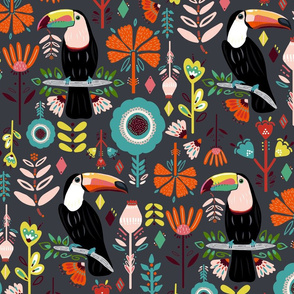 Colorful Scandinavian Toucans On Grey  (Large version)