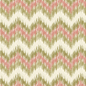18-1e Chevron Ikat Large Scale Olive Green Salmon Pink Cream _ Miss Chiff Designs