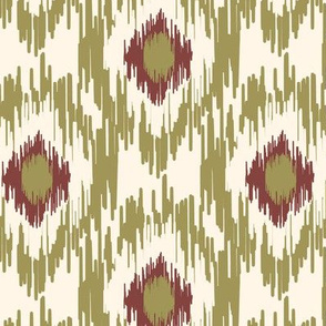 18-1d Medallion Ikat Olive Burgundy Red Cream _ Miss Chiff Designs