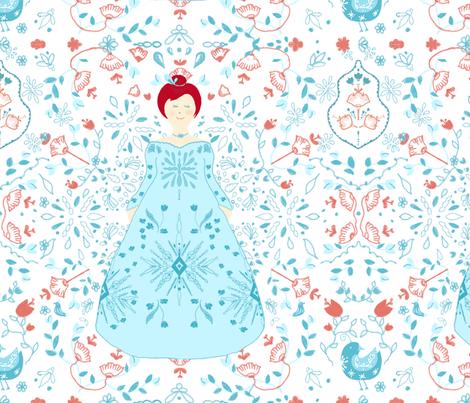 Scandinavian Princess in turquoise fabric by stasiajahadi on Spoonflower - custom fabric