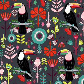 Scandinavian Toucans On Grey Colorful Scandinavian Toucans (Large version)