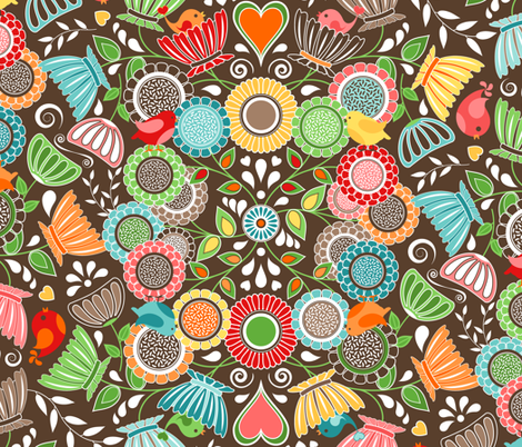 Colorful Scandinavian Folk Art - Flowers and Birds fabric by elsy's_art on Spoonflower - custom fabric