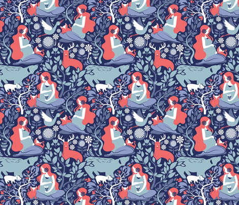 Mother Nature Scandinavian Inspiration // small scale // navy background fabric by selmacardoso on Spoonflower - custom fabric