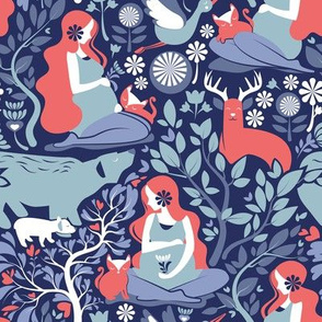 Mother Nature Scandinavian Inspiration // small scale // navy background