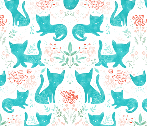 Scandinavian Cats + Poppies - © Lucinda Wei fabric by lucindawei on Spoonflower - custom fabric