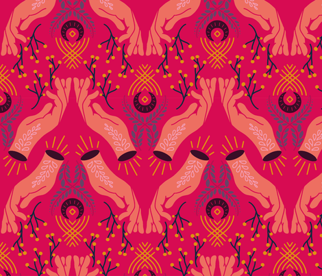 Scandinavian Folk Art Hand fabric by anxelaruxa on Spoonflower - custom fabric