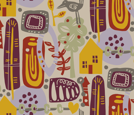 Scandinavian Collage fabric by jennifergeldard on Spoonflower - custom fabric